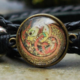 Coiled Celtic Dragon Cabochon Bracelet