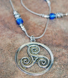 Celtic Triskele Pendant with Lampwork Artisan Beads