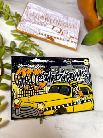 """Halloweentown Postcard"" Enamel Pin"