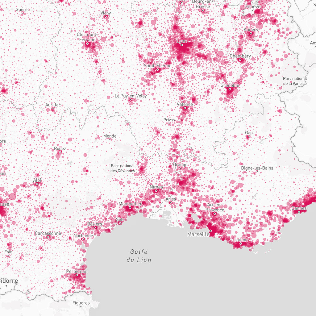 Cartographie population IRIS France Métropolitaine⎪Fond de carte IRIS communes françaises⎪visualizemap
