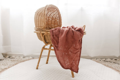 Tansy (Dusty Rose) Bamboo Muslin Wrap - Bubba Bump