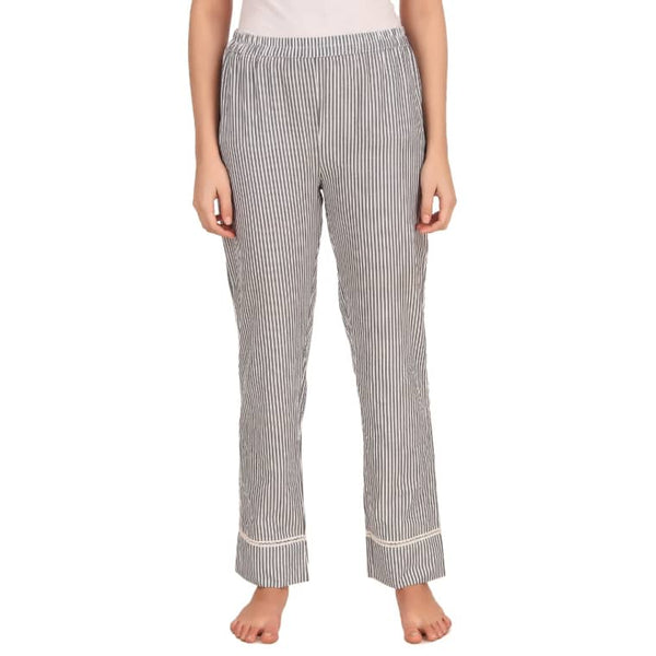 Grey White Cotton Lower Striped Track Pant Casual Wear