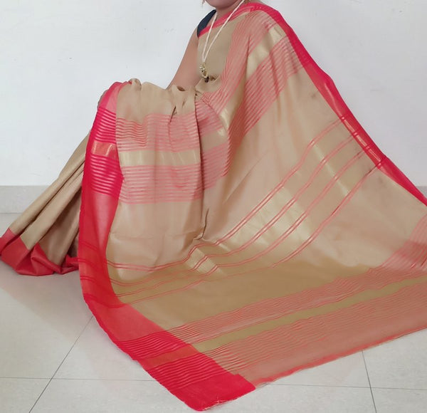 Gold & Red Tussar Silk Saree With Zari Weaving & Blouse Piece - Praneeli