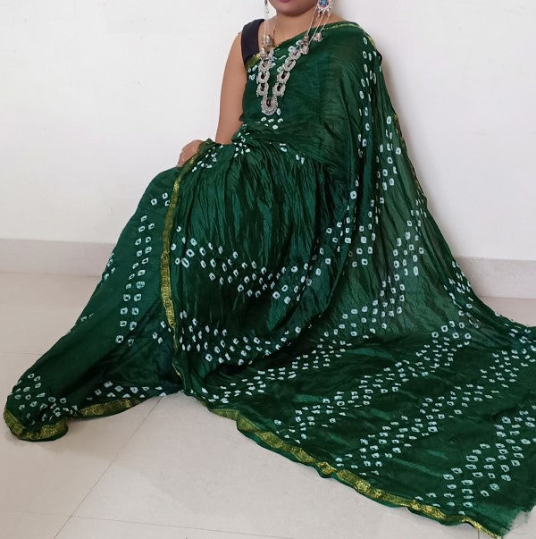 Green Bandhani Silk Saree With Blouse Piece - Praneeli