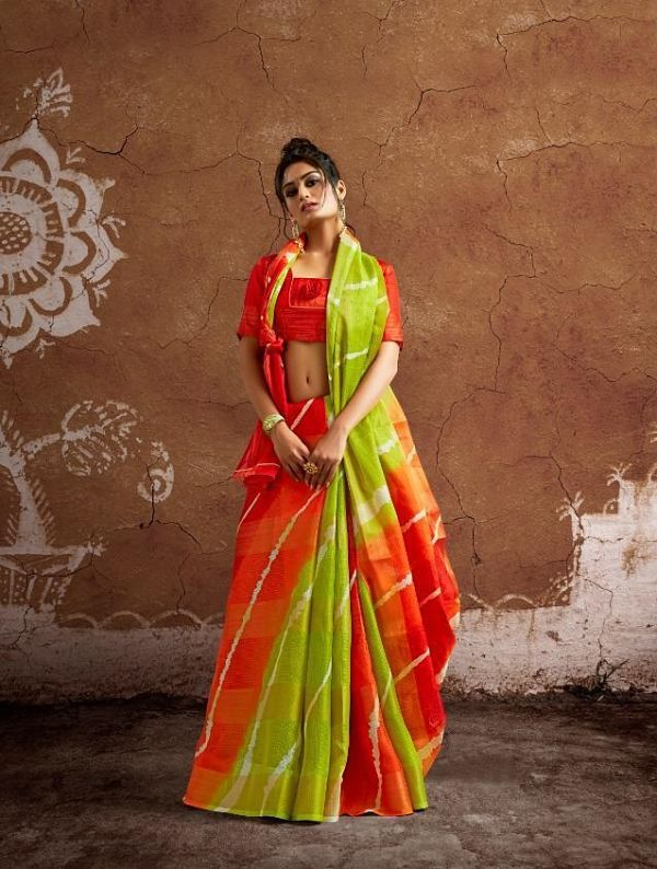 Green Kota Cotton Weaving Saree With Blouse Piece - Praneeli