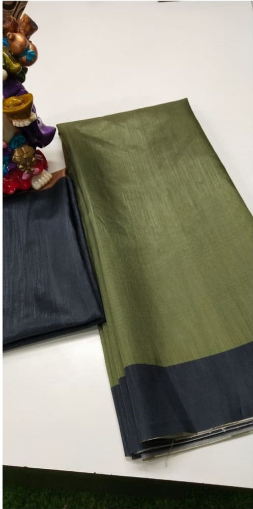 Olive Green Soft  Silk Digital Printed Saree With  Blouse Piece - Praneeli