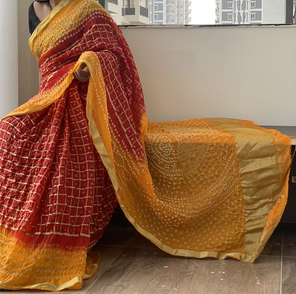 Red Yellow Ghatchola  Bandhani Silk Saree With Blouse Piece - Praneeli