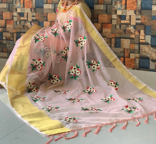 Peach Organza Printed Saree with Golden Border & Blouse Piece - Praneeli
