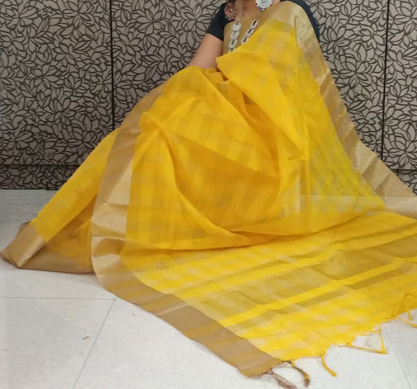 Yellow Organza Silk Saree & Blouse Piece - Praneeli