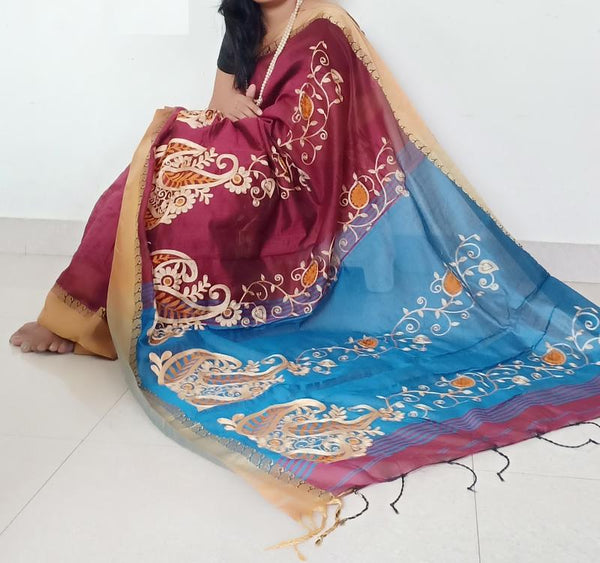 Red Handloom Full Work Silk Saree  &  Seperate Blouse Piece - Praneeli