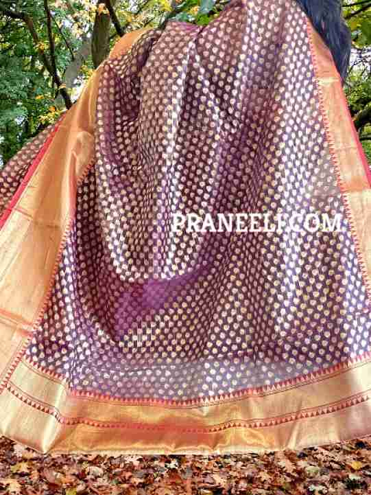 Wine Banarasi Weave Organza Silk Saree  with Blouse Piece