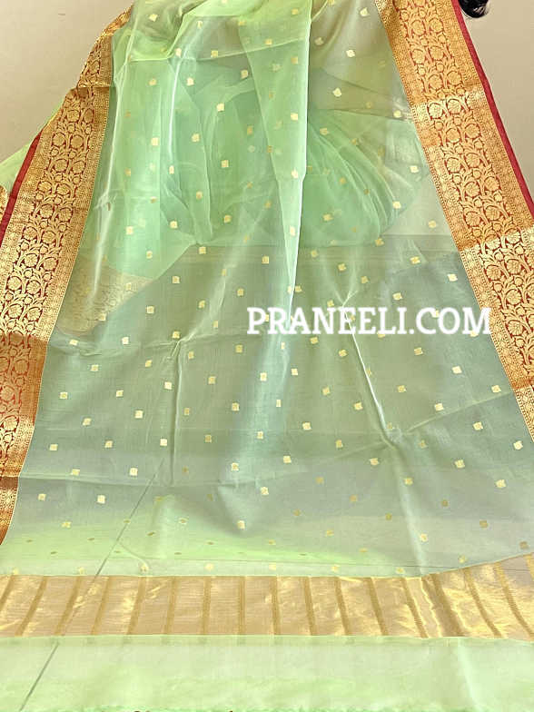Green Yellow Banarasi Weave Organza Silk Saree  with Blouse Piece