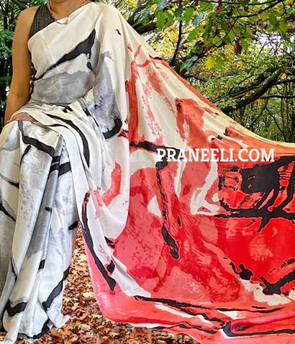 Red & Off White Ombre Coloured Poly Crepe Saree with Blouse Piece