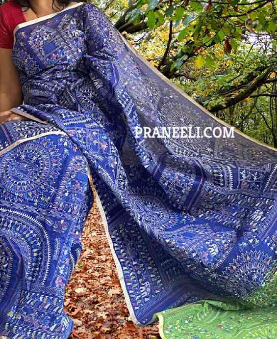 Blue Green Handpainted Madhubani Print Cotton Silk Saree With Blouse Piece