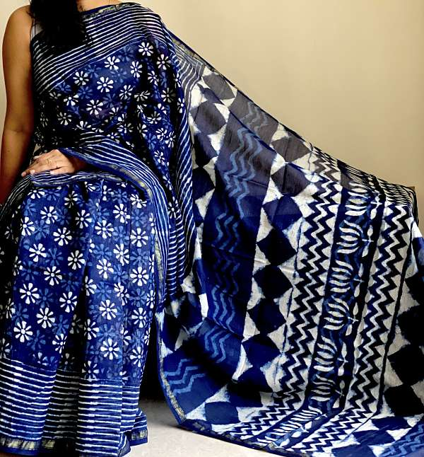 Blue White Hand Painted Chanderi Silk Saree with Blouse Piece