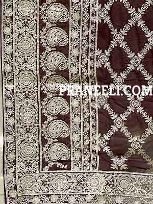 Maroon Heavy Kashmiri Work Handmade Georgette Saree With Blouse Piece