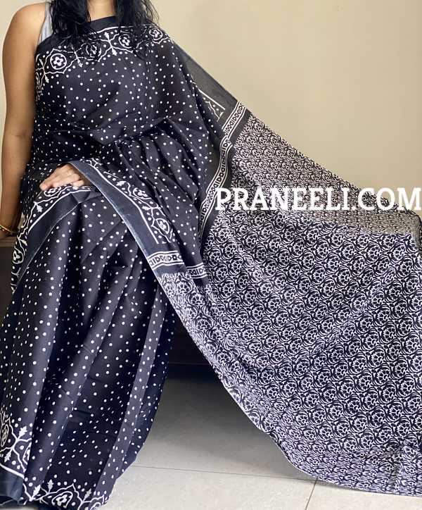 Black White Block Printed  Mulmul Cotton Saree With Blouse Piece