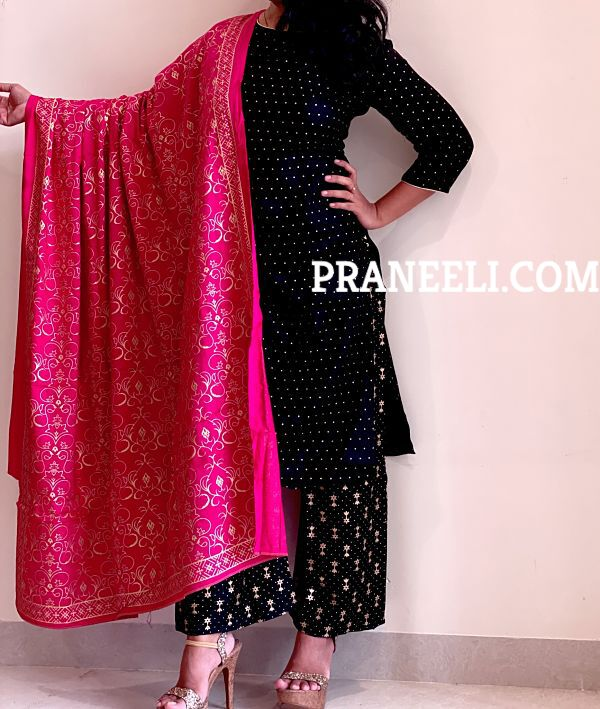 Black Rayon A Line Kurti/Kurta Palazzo Dupatta Set for Women