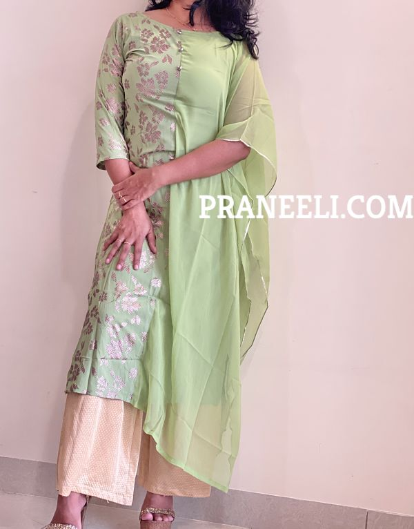 Light Green Poly Crepe A lIne Kurta & Flared Sleeves