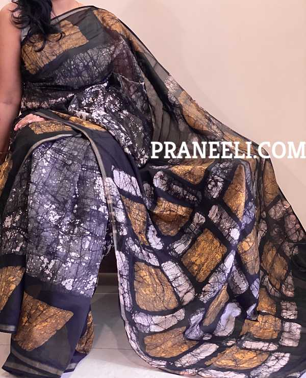 Black Grey Hand Painted Chanderi Silk Saree with Blouse Piece