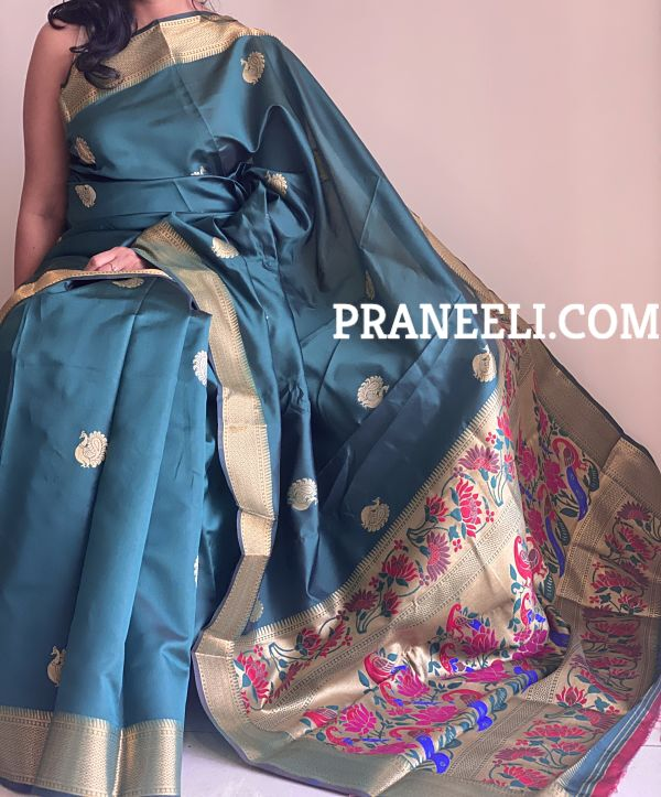 Green Kalamkari Peacock Patola Silk Saree With Zari Work & Blouse Piece