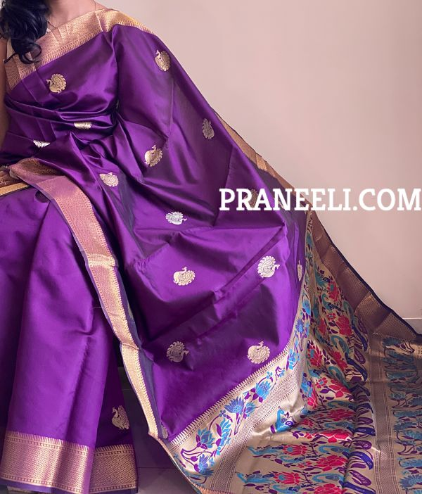 Purple Kalamkari Peacock Patola Silk Saree With Zari Work & Blouse Piece