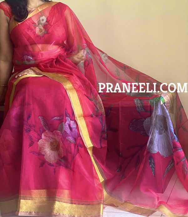 Red Designer Organza Digital Print Saree with Blouse Piece