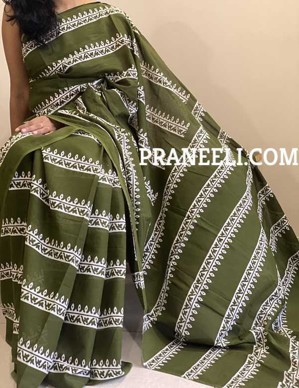 Green Hand Block Printed Cotton Saree Jaipuri Print