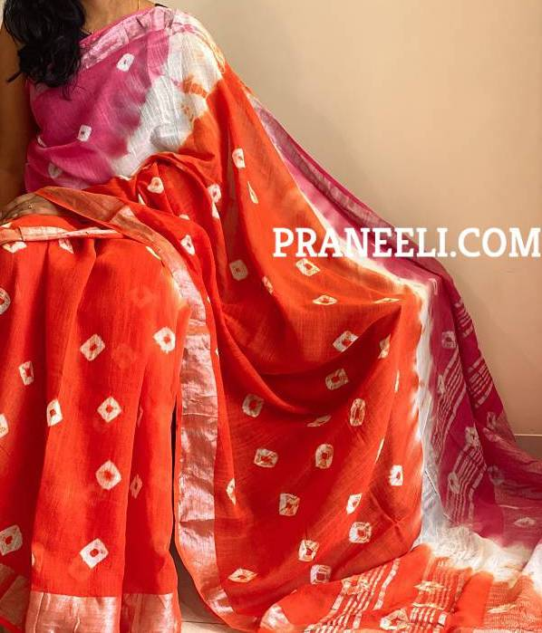 Orange Pink Linen Saree  with Blouse Piece
