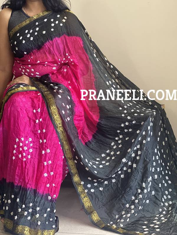 Black Magenta Bandhani Bandhej Tapeta Silk Saree With Blouse Piece