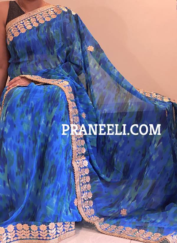 Blue Tie n Dye Gotta Patti Georgette Saree With Lace &  Blouse Piece