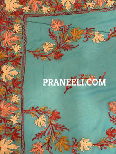 Light Blue Heavy Kashmiri Work Handmade Georgette Saree With Blouse Piece