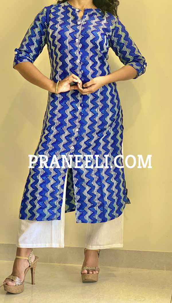 Indigo Blue Cotton Zigzag Straight Kurti Palazzos Set
