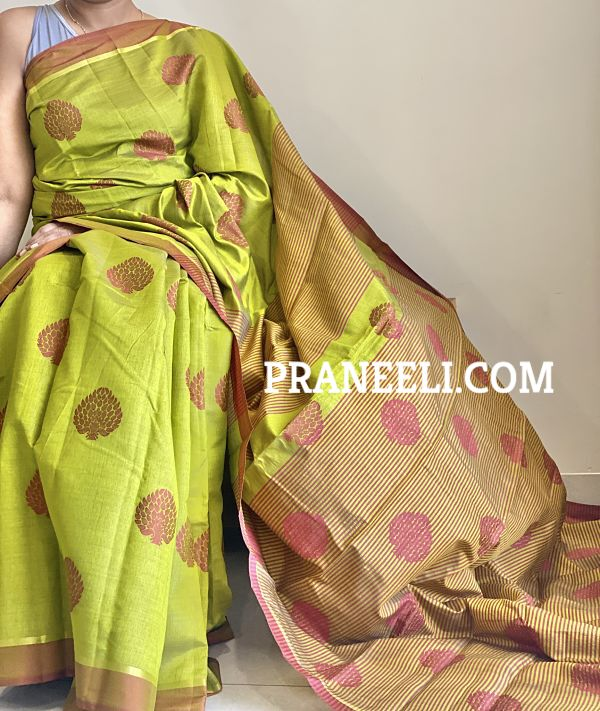 Green Buta Tussar Silk Saree With Meena Weaving  Emboss & Blouse Piece