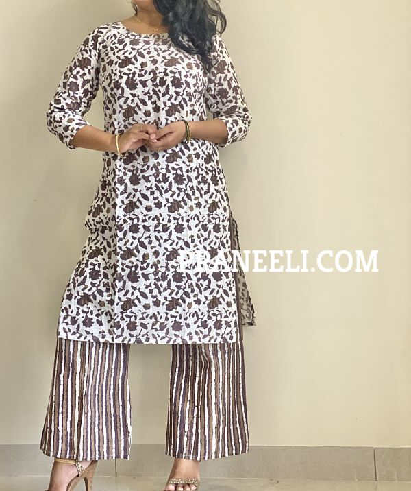 White Cotton Floral Print Straight Kurti Palazzos Set