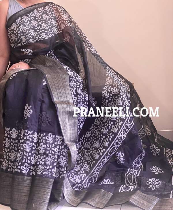 Black Batik Printed Linen Saree with Blouse Piece