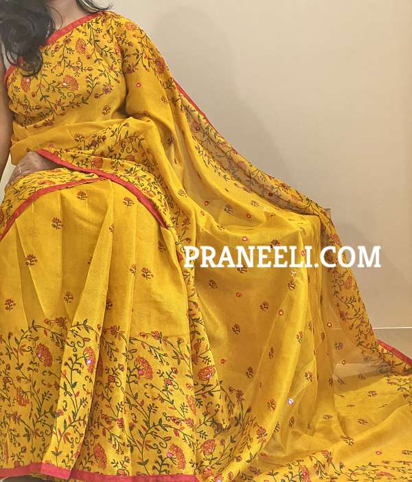 Yellow Red Tussar Silk Aari Work Saree & Blouse Piece