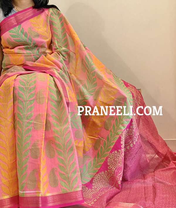 Pink South Cotton Saree With Zari Border & Blouse Piece