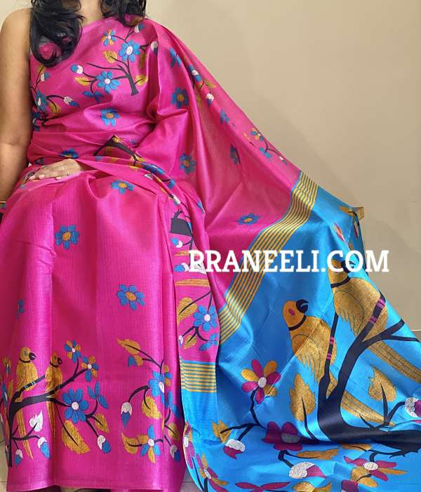 Pink Bhagalpuri Silk Printed Saree  &  Blouse Piece