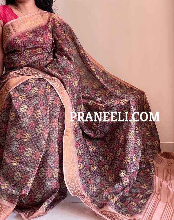 Brown Gold Handloom Chanderi Silk Saree with Blouse Piece