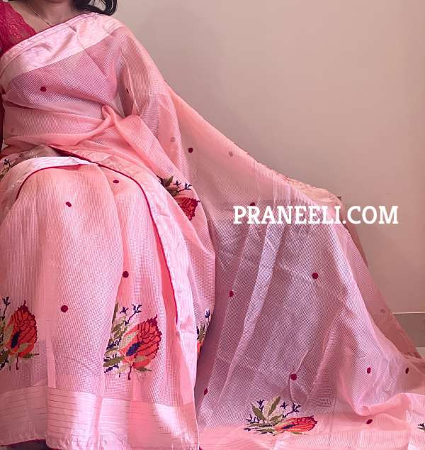 Pink Supernet Embroidered Saree with Weaving & Satin Lining Blouse Piece