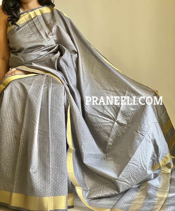 Grey Tanjore Kiccha South Tussar Silk Saree  With Thread Weaving Work &  Blouse Piece