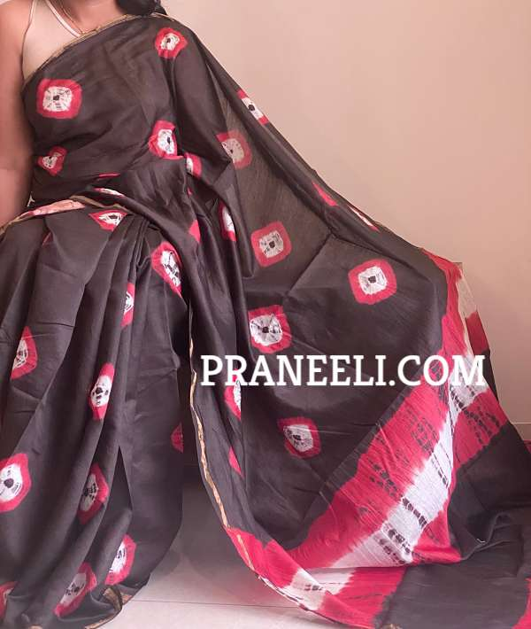 Black Red Hand Painted Chanderi Silk Saree with Blouse Piece