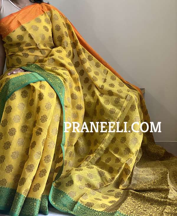 Yellow Cotton Embossed Saree with Blouse Piece