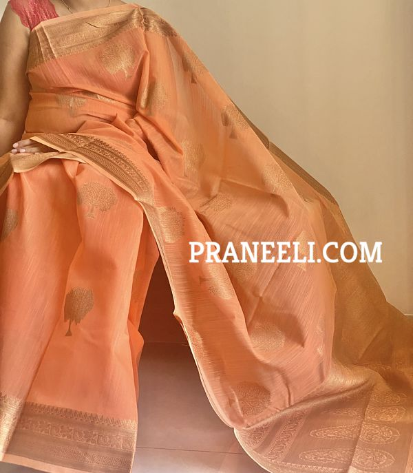 Orange Linen Weaving Silk Saree with Blouse Piece