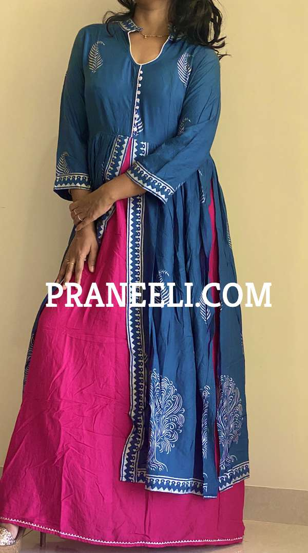Blue Floral Print Dress Attached Skirt Set for Women Stitched Kurti