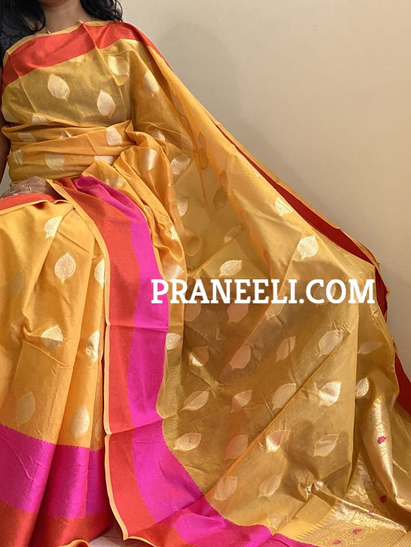 Yellow Jamdani Cotton Saree With  Blouse Piece