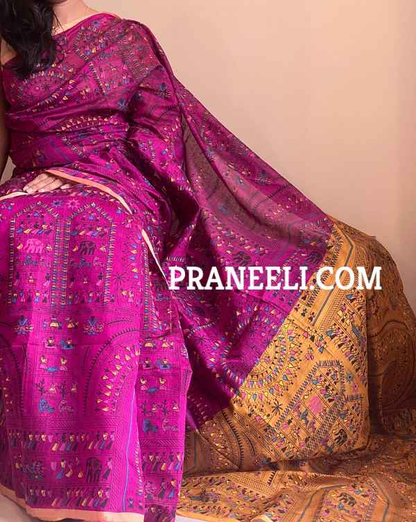 Red Brown Handpainted Madhubani Print Cotton Silk Saree With Blouse Piece