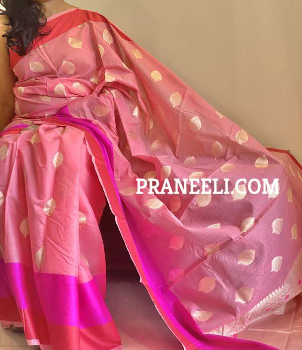 Pink Jamdani Cotton Saree With  Blouse Piece