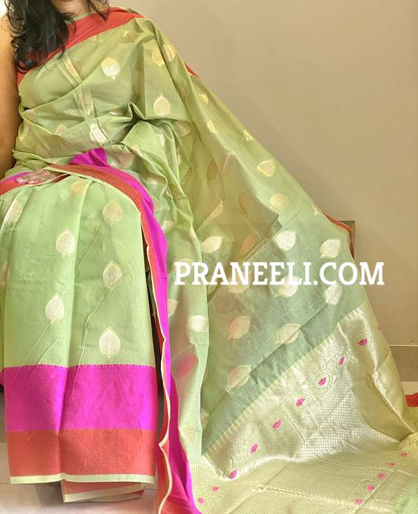 Pista Green Jamdani Cotton Saree With  Blouse Piece